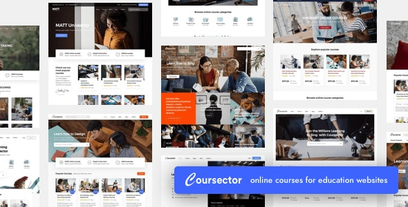 Coursector LMS Education WordPress Free Theme Download