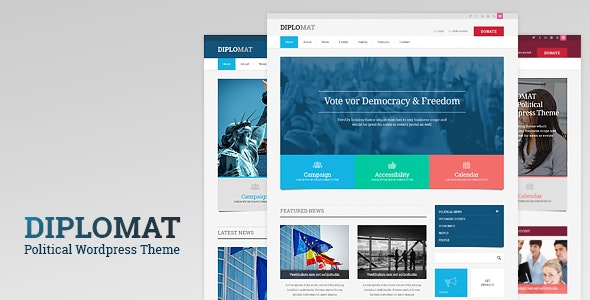 POLITICAL CANDIDATE RESPONSIVE WORDPRESS THEME – DIPLOMAT 1.1.9