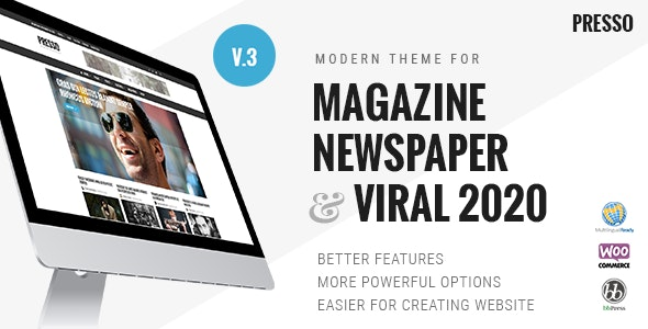 PRESSO MAGAZINE NEWSPAPER wordpress THEME