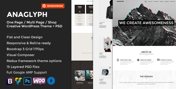 ANAGLYPH One page Multi Page WordPress Theme