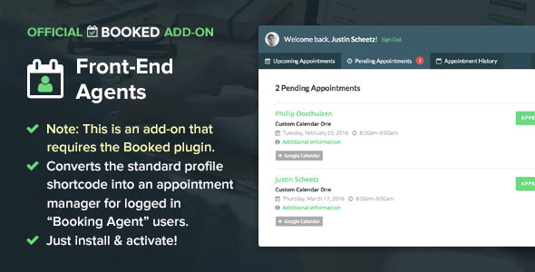 Booked Front-End Agents (Add-On) 1.1.13