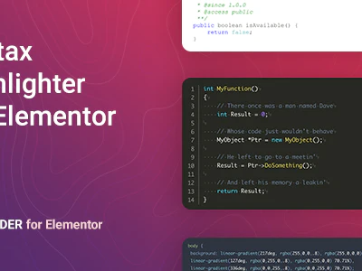 Coder – Syntax Highlighter for Elementor