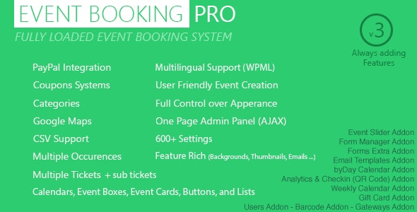 EVENT BOOKING PRO – WP PLUGIN [PAYPAL OR OFFLINE] 3.951