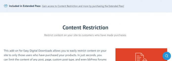 Easy Digital Downloads Content Restriction Addon