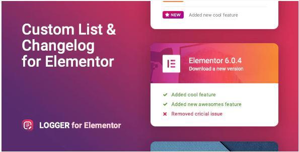 LOGGER CHANGELOG CUSTOM LIST FOR ELEMENTOR v1.0.2