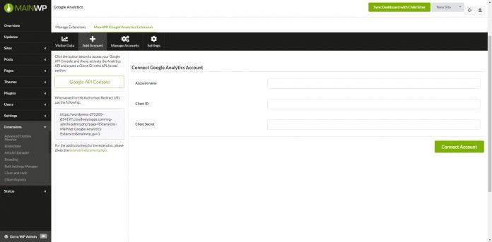 MAINWP GOOGLE ANALYTICS EXTENSION v4.0.3