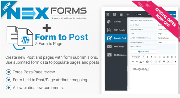 NEX FORMS TO POST PAGE ADDON