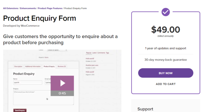 woocommerce Product Enquiry Form free download