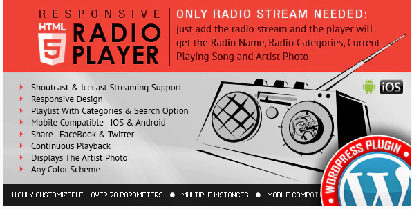 RADIO PLAYER SHOUTCAST & ICECAST WORDPRESS PLUGIN v3.3.3