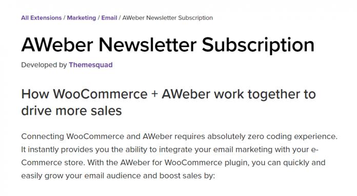 WooCommerce Aweber Newsletter Subscription