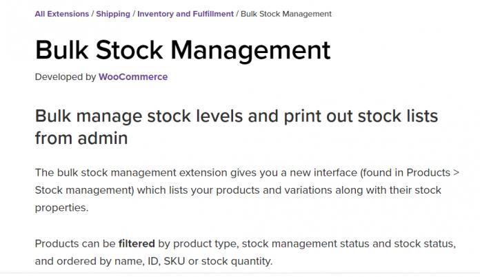 WooCommerce Bulk Stock Management