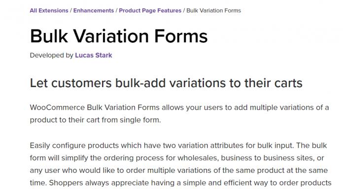 WooCommerce Bulk Variation Forms