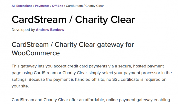 WooCommerce CardStream - Charity Clear
