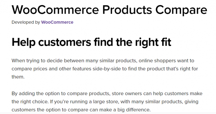 Woocommerce Compare Products Pro