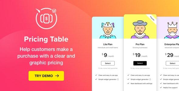 WordPress Pricing Table Plugin