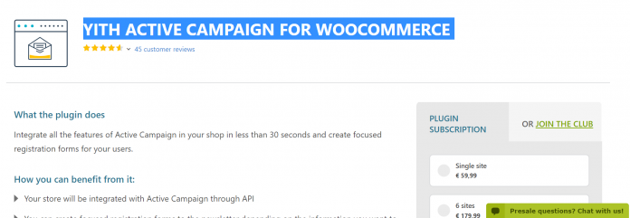 YITH Active Campaign WooCommerce Premium