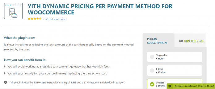YITH DYNAMIC PRICING PER PAYMENT METHOD WOOCOMMERCE