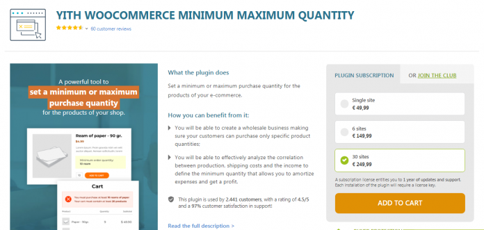 YITH WOOCOMMERCE MINIMUM MAXIMUM QUANTITY