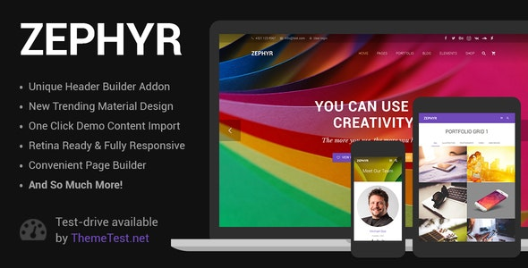 Zephyr - Material Design WordPress Template