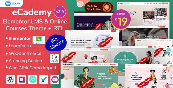 eCademy Elementor LMS and Online Courses Theme