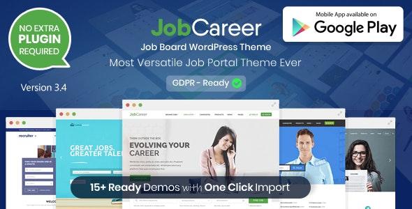 JobCareer Job Board Responsive WordPress Theme Free download