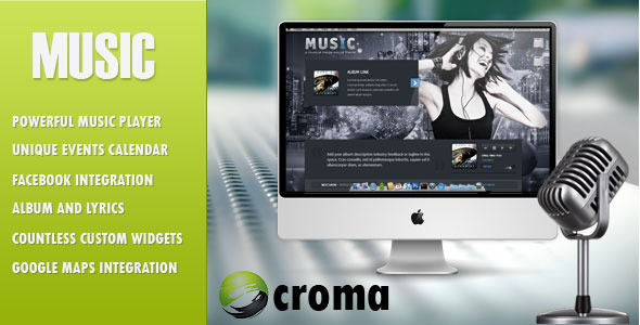MUSIC MUSICIANS THEME & FACEBOOK APP v 1.7