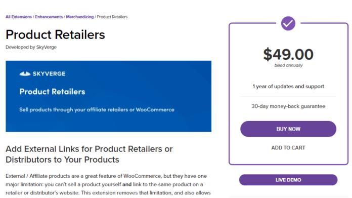 woocommerce product retailers wordpress plugin