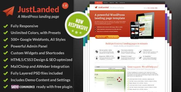 Justlanded Wordpress Landing page Theme
