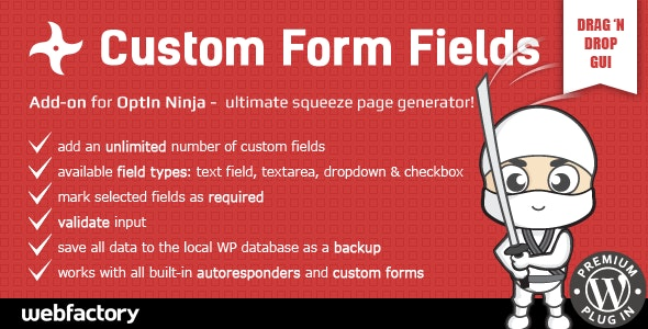 Custom Form Fields addon Optin Ninja