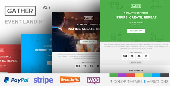 Gather Event Conference WP Landing Page Theme