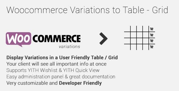 Woocommerce Variations Table Grid