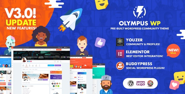 Olympus Social Networking WordPress Theme